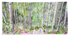 Beach Towel featuring the painting Watercolor - Summer Aspen Glade by Cascade Colors