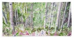 Watercolor - Summer Aspen Glade Beach Towel