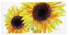 Beach Towel featuring the painting Watercolor Sunflowers by Irina Sztukowski