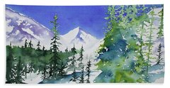 Beach Towel featuring the painting Watercolor - Sunny Winter Day In The Mountains by Cascade Colors