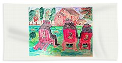 Watercolor Three Bears Visiting A Farm In Tuscany Beach Towel
