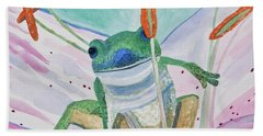 Beach Towel featuring the painting Watercolor - Tree Frog by Cascade Colors