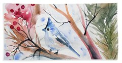 Watercolor - Tufted Titmouse With Winter Berries Beach Towel