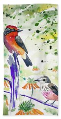 Beach Towel featuring the painting Watercolor - Vermilion Flycatcher Pair In Quito by Cascade Colors