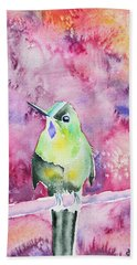 Beach Towel featuring the painting Watercolor - Violet-tailed Sylph by Cascade Colors