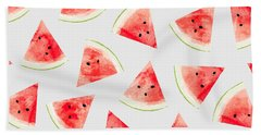 Watercolor Watermelon Pattern Beach Towel by Uma Gokhale