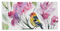 Beach Towel featuring the painting Watercolor - Western Tanager In A Flowering Tree by Cascade Colors
