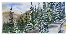 Beach Towel featuring the painting Watercolor - Winter Snow-covered Landscape by Cascade Colors