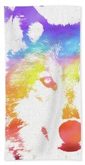 Watercolor Wolf Beach Towel