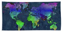 Watercolor World Map Blue Beach Towel