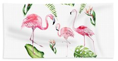 Beach Towel featuring the painting Watercolour Flamingo Family by Georgeta Blanaru