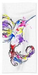 Watercolour Hummingbird Beach Towel