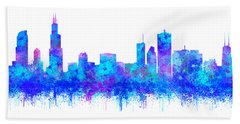 Beach Towel featuring the painting Watercolour Splashes And Dripping Effect Chicago Skyline by Georgeta Blanaru