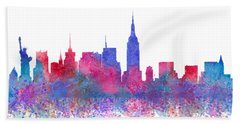 Beach Towel featuring the digital art Watercolour Splashes New York City Skylines by Georgeta Blanaru