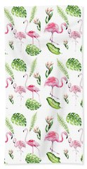 Beach Towel featuring the painting Watercolour Tropical Beauty Flamingo Family by Georgeta Blanaru