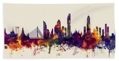 watercolour, watercolor, urban,  Bangkok, Bangkok skyline, bangkok cityscape, city skyline, thailand Beach Towel