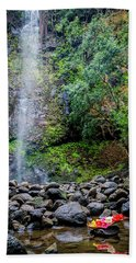 Waterfall And Flowers Beach Towel