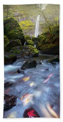Waterfall And Stream With Fluxing Autumn Leaves Beach Sheet