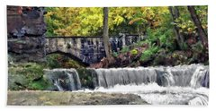Waterfall At Olmsted Falls - 1 Beach Towel