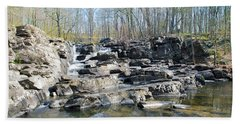 Beach Towel featuring the photograph Waterfall At Wickecheoke Creek by Bill Cannon