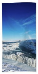 Waterfall Gullfoss In Winter Iceland Europe Beach Sheet by Matthias Hauser