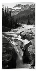 Waterfall In Banff National Park Bw Beach Towel by RicardMN Photography