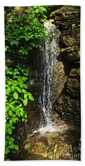 Waterfall In Forest Beach Towel