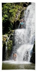 Waterfall In New Zealand Beach Towel