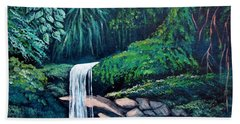 Waterfall In The Forest Beach Sheet