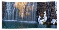 Waterfall In Winter Beach Sheet