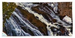 Waterfall In Yellowstone Beach Towel by C Sitton