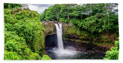 Waterfall Into The Valley Beach Towel