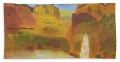 Beach Towel featuring the painting Rainbow Falls by Meryl Goudey
