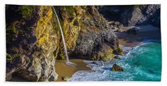 Waterfall Pouring Into The Ocean Beach Towel