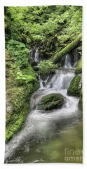 Beach Towel featuring the photograph Waterfalls And Rapids On The White Opava Stream by Michal Boubin