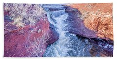 waterfalls at Colorado foothills aerial view Beach Towel