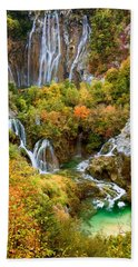 Waterfalls In Plitvice Lakes National Park Beach Sheet