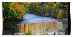 Waterfalls Of Michigan Beach Towel by Michael Rucker