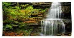 Waterfalls On Little Three Mile Run Beach Towel