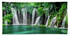 Waterfalls Panorama - Plitvice Lakes National Park Croatia Beach Sheet