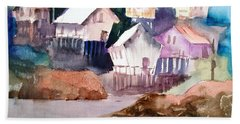 Waterfront Cabins Beach Towel by Larry Hamilton