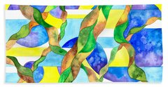 Beach Towel featuring the painting Watering The Lawn Abstract by Kristen Fox