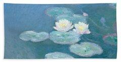 Waterlilies Evening Beach Sheet by Claude Monet