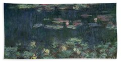 Waterlilies Green Reflections Beach Towel by Claude Monet