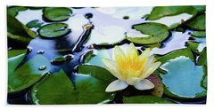 Waterlilly On Blue Pond Beach Sheet