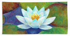 Beach Towel featuring the painting Waterlily by Elizabeth Lock