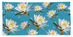 Beach Towel featuring the mixed media Waterlily Pattern by Christina Rollo