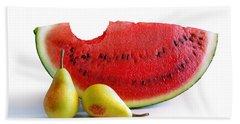 Watermelon And Pears Beach Sheet by Carlos Caetano