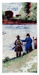 Beach Towel featuring the mixed media Waters Edge by Writermore Arts