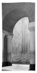 Waterwall And Arch 3 In Black And White Beach Towel